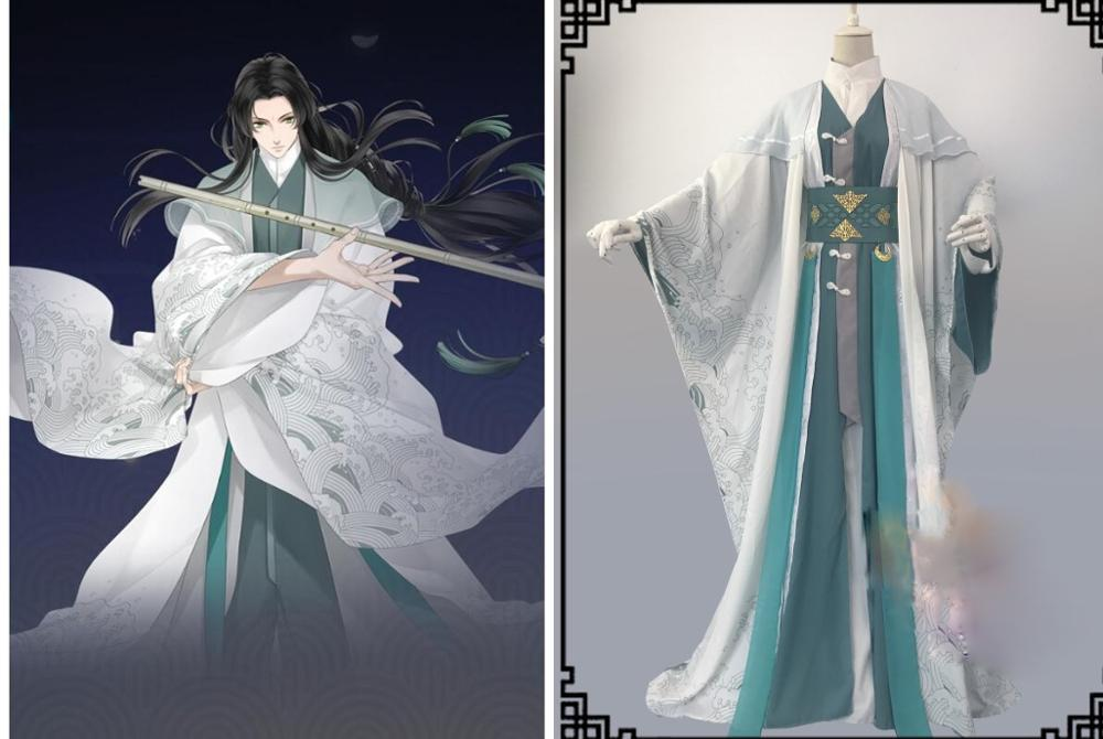 Bi Hai Yu Xiao White Green Male Scholar Costume Hanfu For Mobile Game Dream Collection Cosplay Hanfu