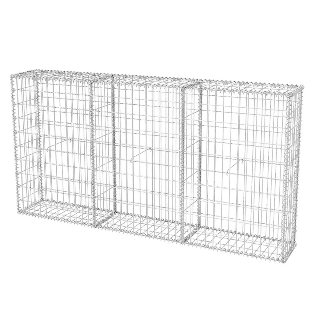 VidaXL Gabion Basket With Lids Galvanised Wire 200x30x100 Cm For Home And Business Landscape Design Galvanised Steel Basket