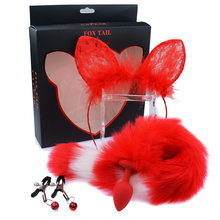 Delle donne Sexy Cosplay Costume Selvaggio Fox Tail Butt Plug Anale di Colore di Contrasto Artificiale Peluche Orecchie di Gatto Volpe Cerchio Dei Capelli Per Adulti giocattoli del sesso(China)