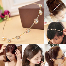 2019 Baru Batasan Korea Luxury Glitter Rhinestone Crystal Headband Elegan Hai... Ring Alloy Rambut Aksesoris(China)