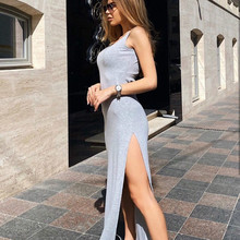 2020 Winter Sexy Solid Color Dress Strapless Split Elegant Party Long Dress Autumn Club Bodycon Maxi Dresses Outfits for Women