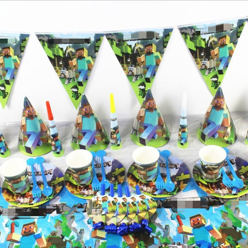 HEIßER Einweg Party Dekoration Bergbau Hochzeit Geburtstag kinder Papier Tasse Platte Banner Top Hut Partei Liefert Baby Dusche