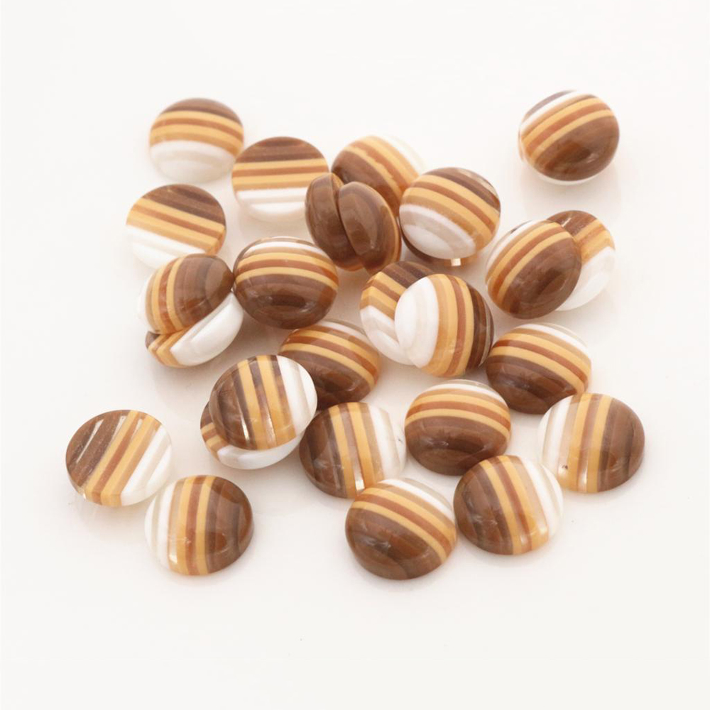 New Fashion 40pcs 12mm White Coffee Colors Stripe Style Flat Back Resin Cabochons Fit 12mm Cameo Base Cabochons-W3-11