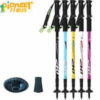 Pioneer Trekking Ski Pole Walking Stick Adjustable Hiking Alpenstock Shock Aluminum Climbing Camping Adjustable Telescopic Cane