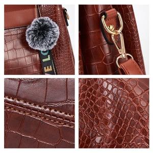 Image 5 - FUNMARDI 4PS komplet torebek damskich luksusowe krokodyl kobiece torebki PU skórzane torby na ramię marki torby kompozytowe Crossbody WLHB2024