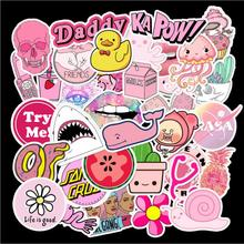 50pcs Not Repeating Cute Pink Small Fresh Graffiti Stickers Suitcase Motorcycle Notebook Cool Funny Waterproof PVC Safe Stickers