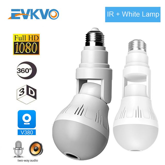 EVKVO Wifi IP Camera Bulb Lamp Light Wireless 1080P Full HD 360 Degrees Panoramic IR Light Home CCTV Security Video Surveillance