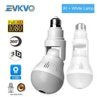 EVKVO Wifi IP Camera lampadina lampada Wireless 1080P Full HD 360 gradi panoramica IR light Home CCTV sicurezza videosorveglianza