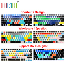 HRH Hot Selling Durable Wholesale 15pcs Slim Hot key Shortcuts Silicone Keyboard Cover Skin for Macbook Air Pro Retina 13