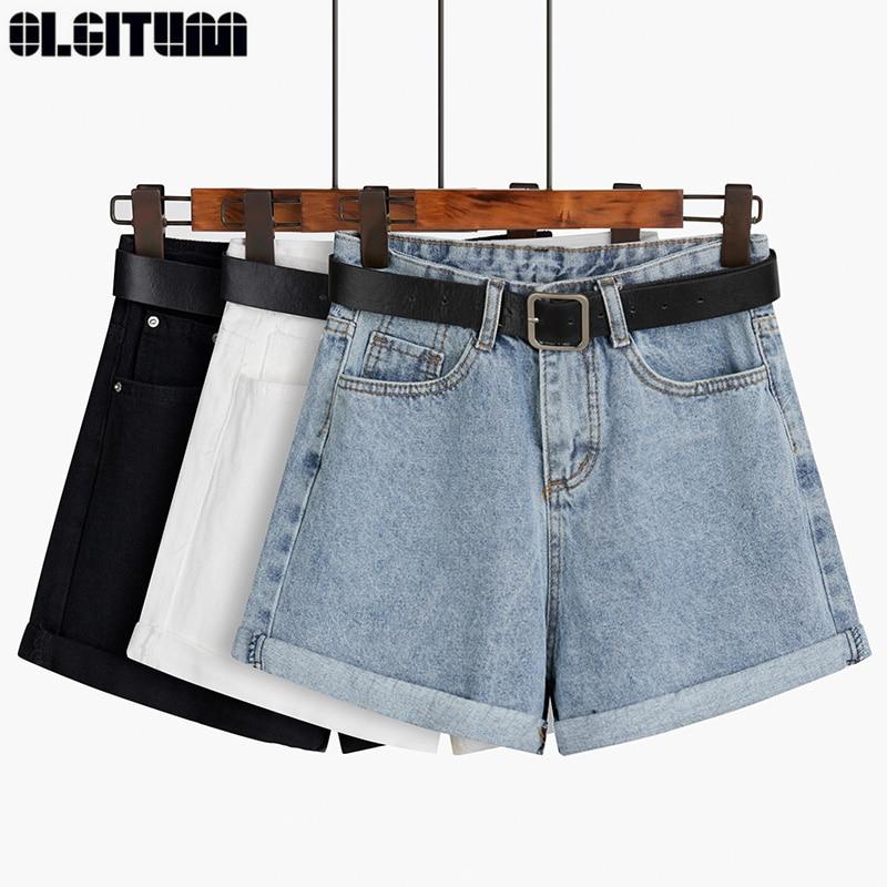 Black Gray Denim Shorts With Belt Female Summer 2020 New High Waist Wide Leg Shorts Loose Slim Outside Wearing A-line Hot Shorts