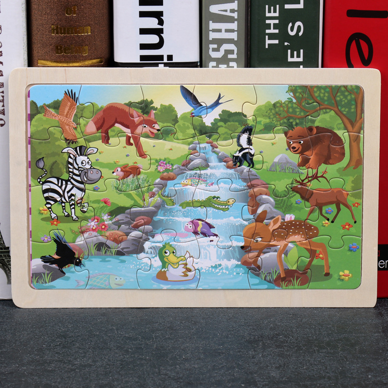 24 Slice Wood Puzzles Children Adults Vehicle Puzzles Wooden Toys Learning Education Environmental Assemble Educational Games 11