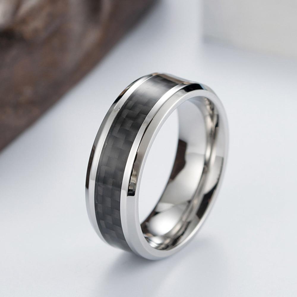 Bague en acier titane noir en fibre de carbone 1