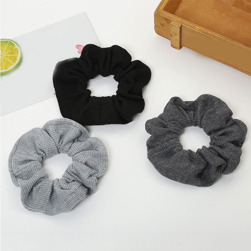 2019 New Headbands Women Black Grey Elastic Hair Rope Scrunchie Soft Cotton Ponytail Holder Hair Band For Girls Hair Accessories
