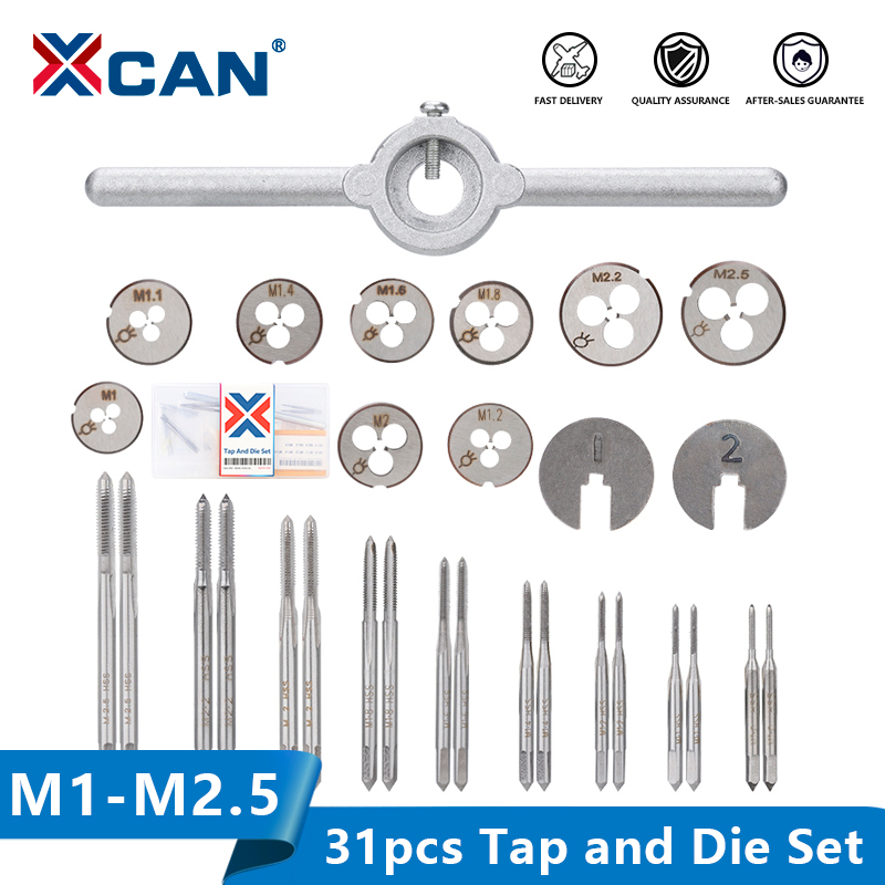 XCAN Tap Die Set 31pcs M1-M2 5 Metric Thread Tap and Die Screw Tap Die Wrench Threading Tools