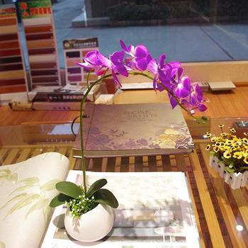 Orquídea mariposa artificiales hoja de arbusto de hierba decorativa del hogar verde