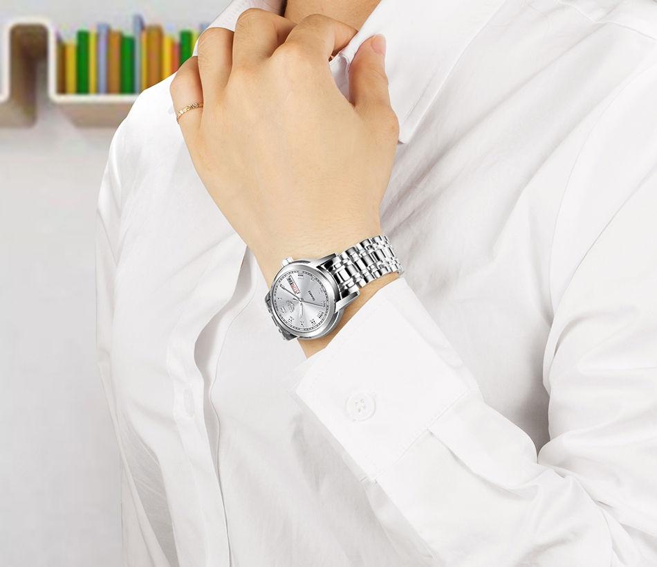 quartzo relógio feminino pulseira à prova dwaterproof água + caixa