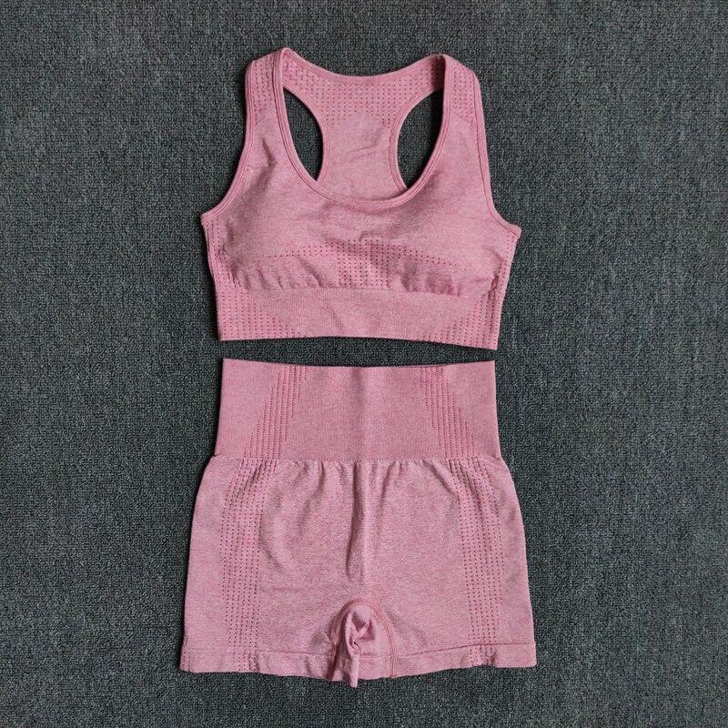 Women Seamless 2PCS Yoga Set Sports Bra High Waist Fitness Gym Shorts Gym Set Running Sportswear Workout Clothes Sports Suits