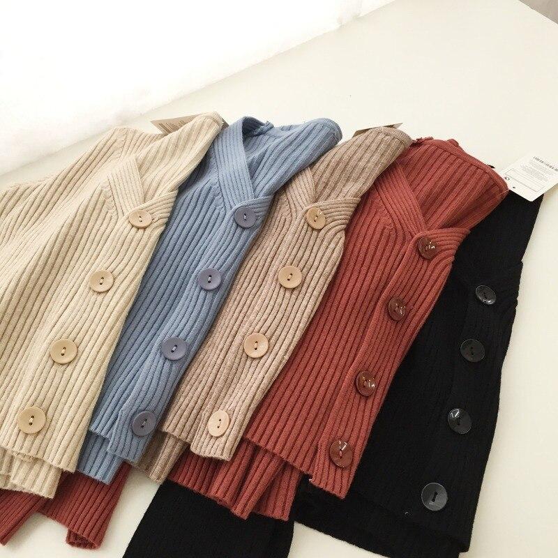 Женские Свитера Осень Весна Короткие кардиганы однобортные Повседневные свитера с v образным вырезом Женские однотонные вязаные куртки джемперы|Кардиганы|   | АлиЭкспресс