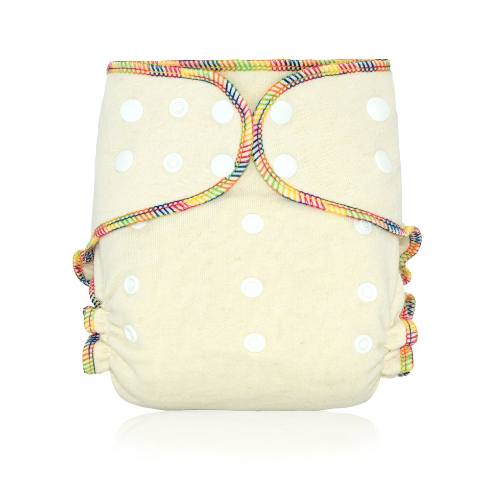 HappyFlute OS Hemp Fitted Cloth  Diaper,AIO each diaper with a snap insert, high absorbency, fit baby 5-15kgs