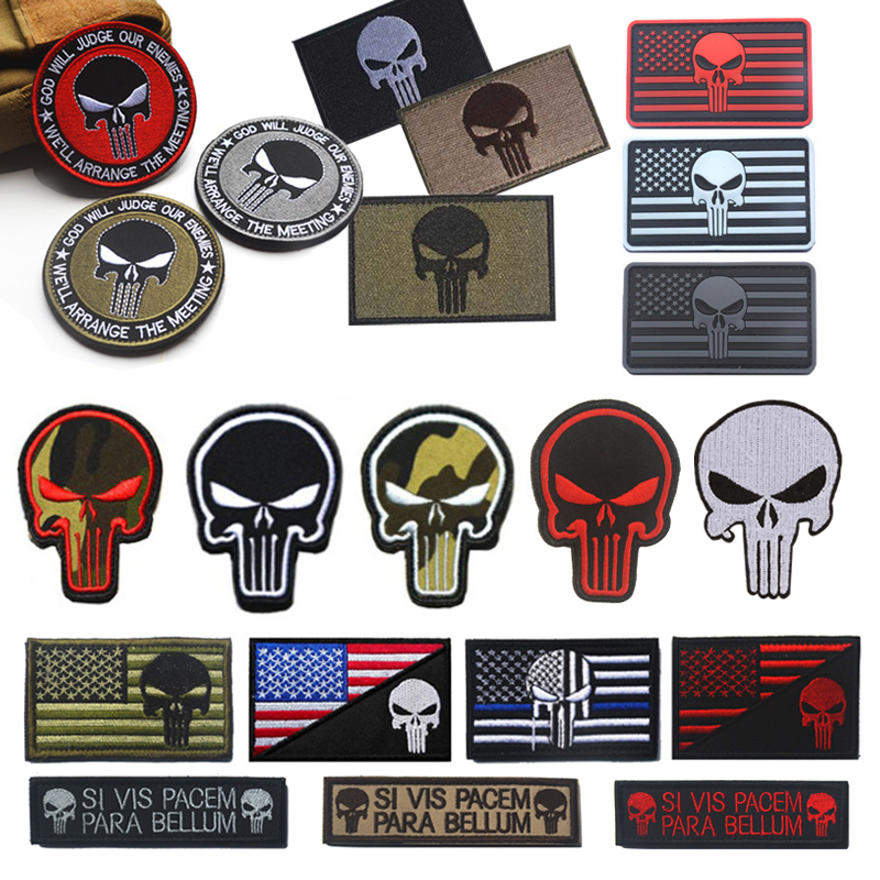 PUNISHER SKULL God Will Judge Our Enemy WE'LL ARRANGE MEETING PATCH Military Tactical Morale Badge Multicam Sniper Patch(China)