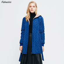 Blue Belted Winter Jacket Women Fur Lined Coat Hood Reflective Plus Size Long Cold Coat Winter Clothes 2019 Casual Woman Coat flounce trim belted coat