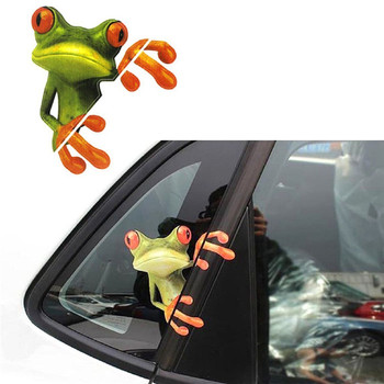 3D Stereoscopic Car Stickers Funny Frog Vinyl Decal Car Window Exterior Styling Decoration Car Accessories image
