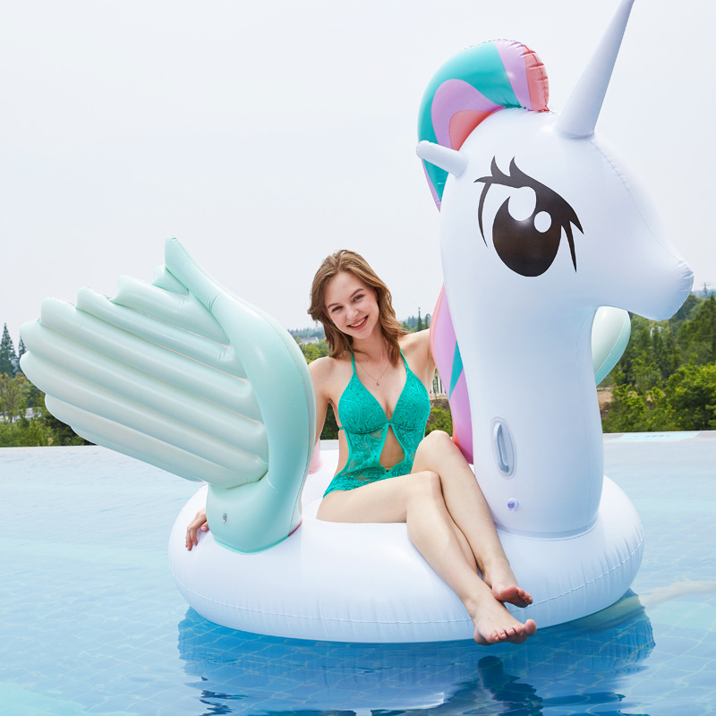 Rooxin 260cm Inflatable Unicorn Floating Bed Inflatable Air Mattress for Beach Party Pool Swimming Ring Float Row Raft for Adult