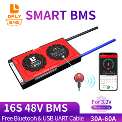 Bluetooth Function  485 to USB device CAN Battery Protection Board 3.2V Smart BMS 16S 48V LiFePO4 30A 40A 60A