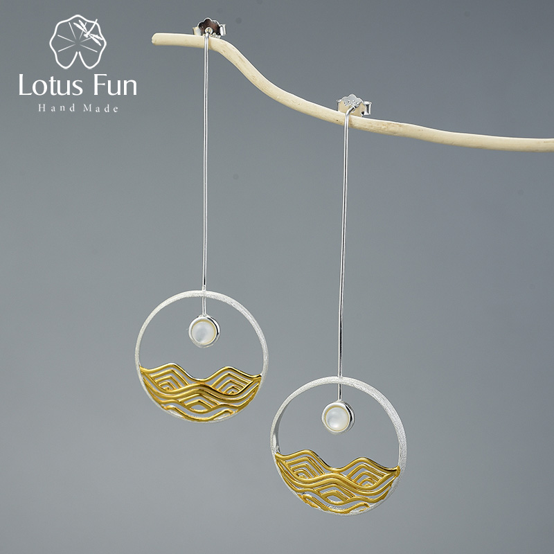 Lotus Fun The Moonlight Design Dangle Earrings Real 925 Sterling Silver Creative Handmade Fine Jewelry Earrings for Women Gift