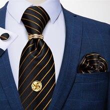 Роскошный мужской деловой галстук 8 см набор из 100% шелка черный
