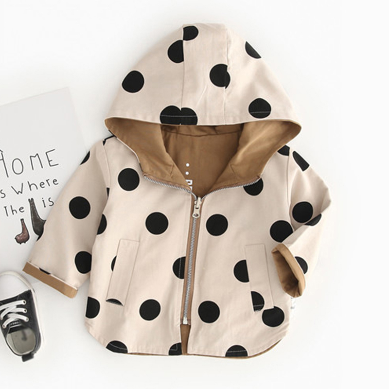 Boys Windbreaker Fall Hooded Baby Girls Coats Polka Dot Two Sides Wear Toddler Kids Autumn Outerwear Children Clothes image