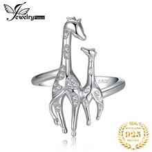 JewelryPalace Anillo de boda abierto Ajustable con jirafas madre e hija, Circonia cúbica, 925 anillos de plata esterlina