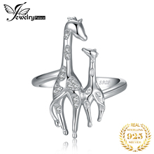 JewelryPalace Cubic Zirconia Mother and Daughter Giraffe Adjustable Open Wedding Ring 925 Sterling Silver Rings for Women Gifts