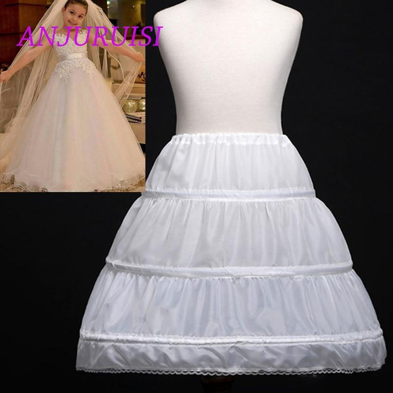 White Children Petticoat 2019 A-Line 3 Hoops One Layer Kids Crinoline Lace Trim Flower Girl Dress Underskirt Elastic Waist