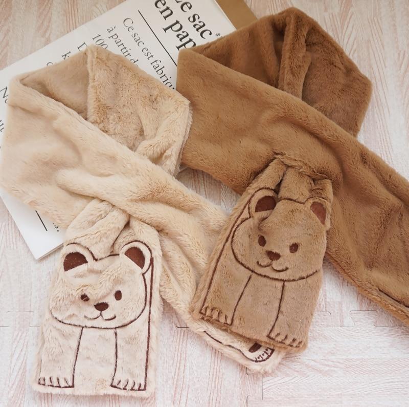 Lolita Cute Warm Plush Berber Fleece Bear Ears Scarf Teen Girls Winter Solid Color Kawaii Cap Sweet Lovely Muffler Unisex Hat