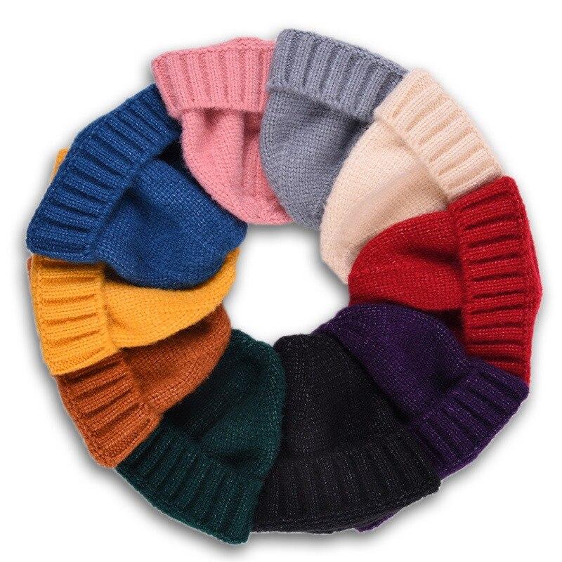 Knitted Hat Beanie-Hat Korean-Version Autumn Winter Fashion Child Keep-Warm Stripe Solid