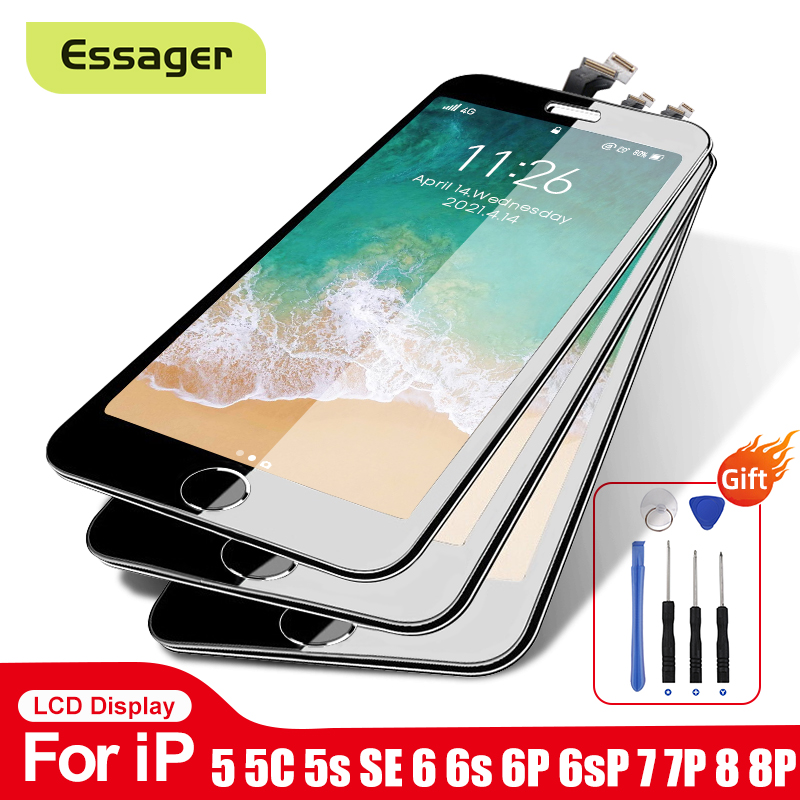 Essager LCD Display For iPhone 8 7 6 6s Plus 5 5C 5S SE Screen Replacement 3D Touch Screen Digitizer Assembly For iPhone LCD AAA