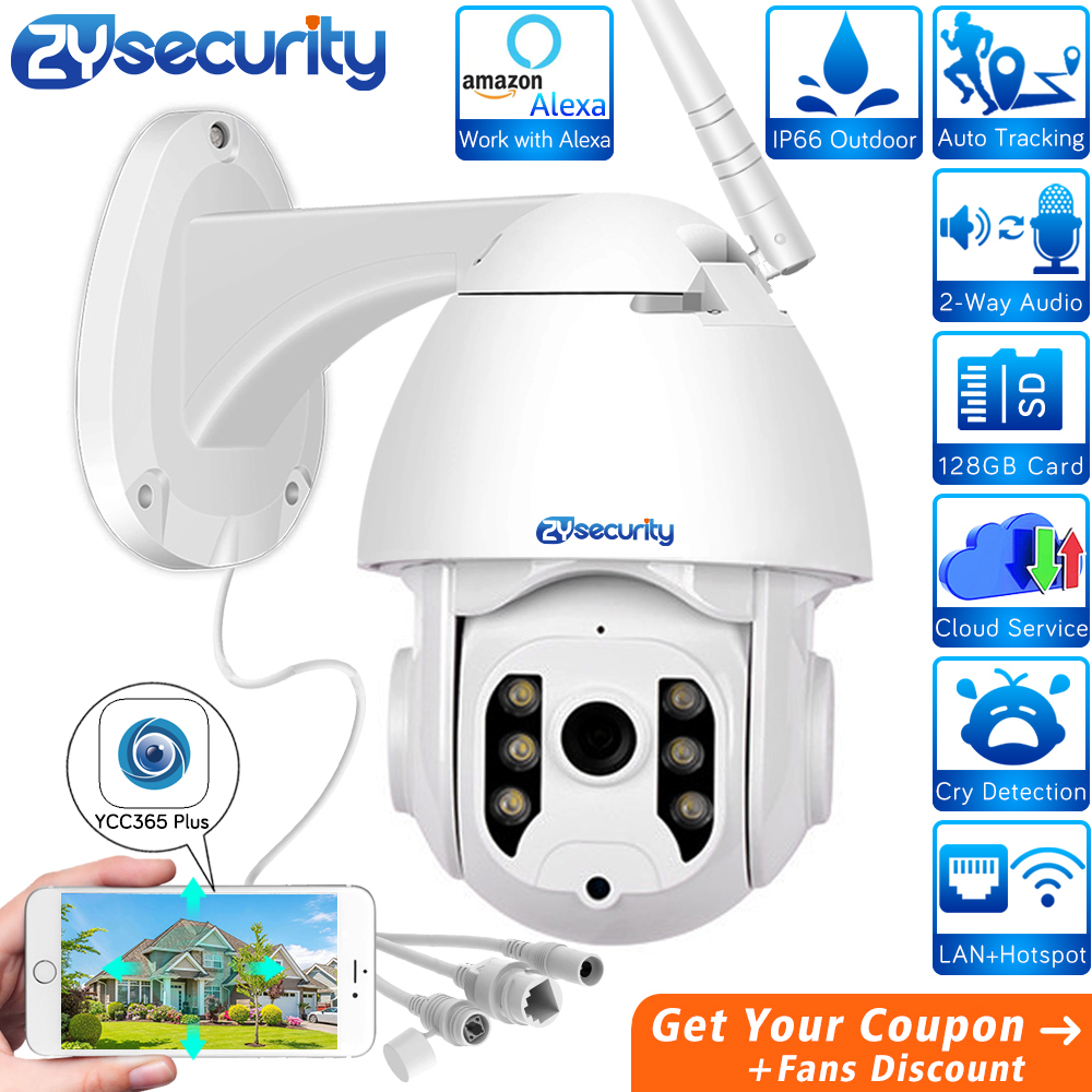 1080p Wifi PTZ Camera Outdoor Works With Alexa Wireless Auto Tracking Speed Dome Camera Surveillance CCTV Security IP Camera image