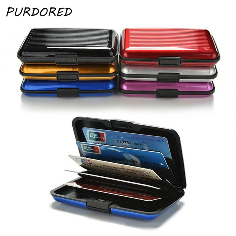 PURDORED 1 Pc Men Aluminum Bank Card Holder Blocking Hard Case Wallet Solid Credit Card Anti-RFID Scanning Protect Card Holder