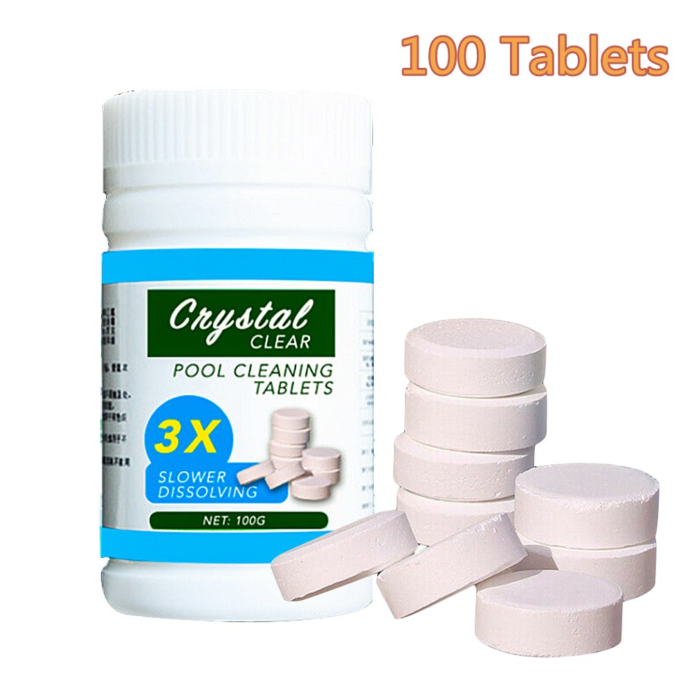 100 Tablets/Bottle Attention Effect Multifunctional Household Sterilization Bubble Tablet Home Cleaning Pool Cleaner Toilet Pool