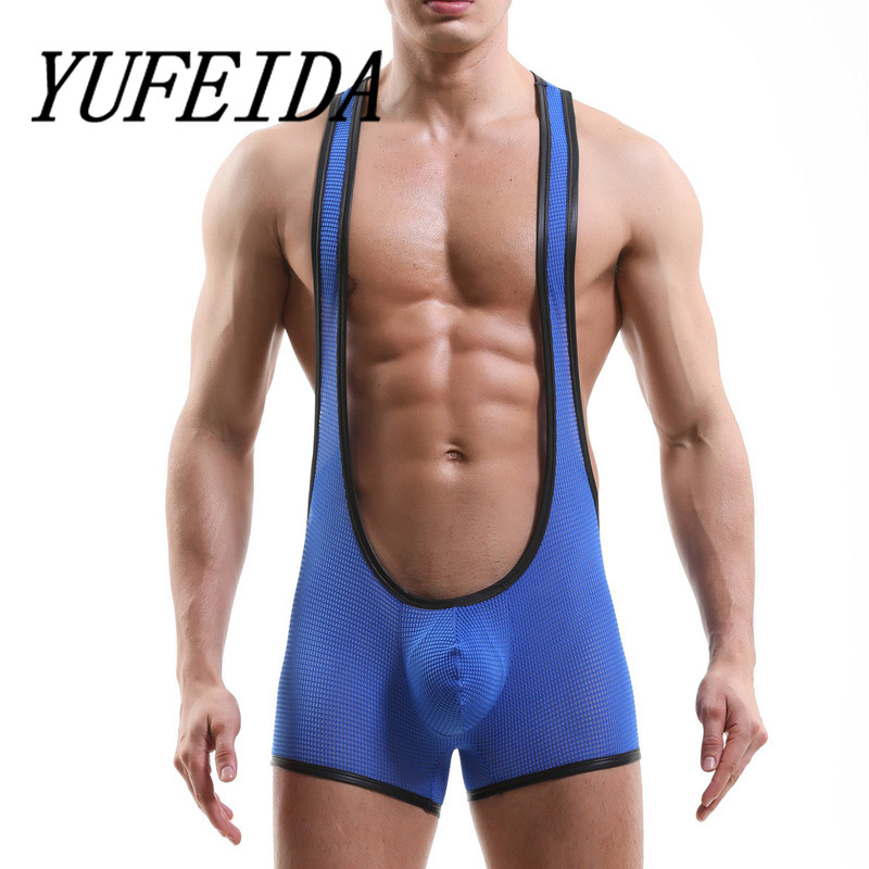 Sexy Undershirt Mesh Hollow Out Men See Through Jumpsuit Boxer Shorts Male One-piece Leotard Gay Wrestling Singlet Undershirts