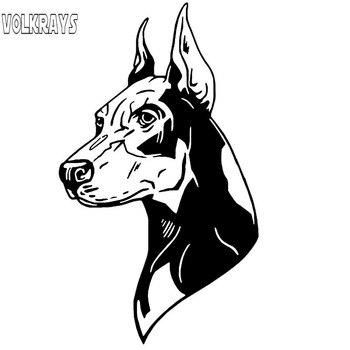 Volkrays Creative Car Sticker Doberman Pinscher Dog Accessories Reflective Cover Scratches Vinyl Decal Black/Silver,20cm*11cm - discount item  60% OFF Exterior Accessories