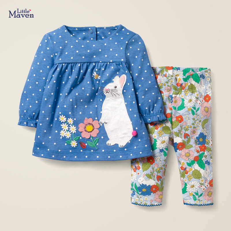 Little maven Girls Clothing Sets Animal Rabbit Baby Suits Children's Fall Boutique Outfits Kits for Kids Long Sleeve Dress Sets 2