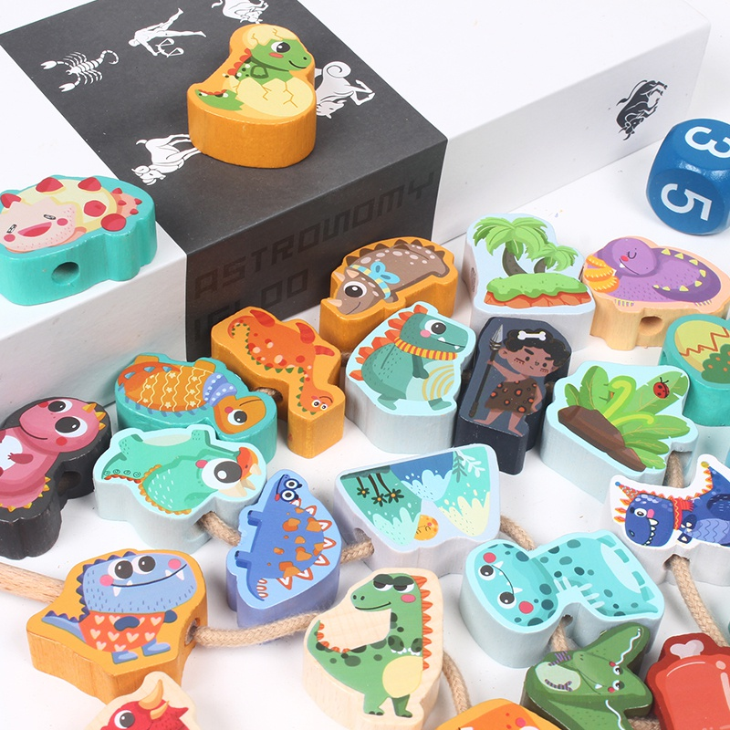 26pcs Beads Wooden Toys Baby DIY Cartoon Letter Animal Stringing Threading Beads Wood Block Educational Toys For Kids Children