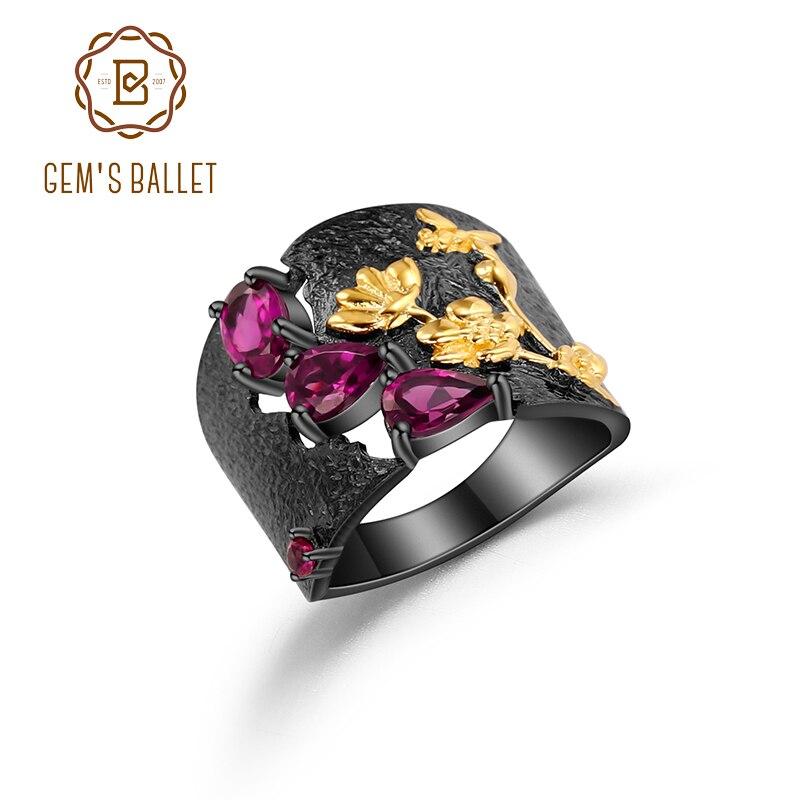 GEM'S BALLET Natural Rhodolite Garnet Rings 925 Sterling Silver Handmade Humming Bee Flower Floral Garden Band Ring For Women