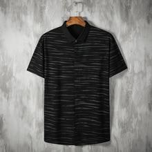 Summer new men's fattening plus size fashion casual printing short sleeve shirt