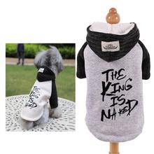 Winter Warm  Coat for Dogs Fleece Dog Jacket The King is Naked Print Hood Cat Clothes XS S M L XL 2XL