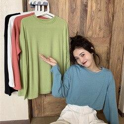 Camisa de Color sólido de las mujeres de estilo coreano Simple suelta-ajuste alto suéter versátil suelto cepillado desgaste exterior largo-sl
