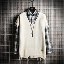 Autumn Sweater Vest Men Fashion Solid Color Casual V-neck Knit Sweter Streetwear Loose Hole Pullover Man Clothes M-3XL