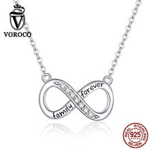 VOROCO Real 925 Sterling Silver Pendant Necklace Infinity Love Family Forever Short Chain Necklace for Women Jewelry BKN352(China)